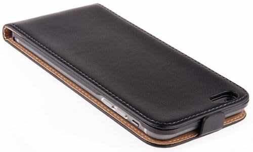 Deet® Coque iPhone 6/6S. Housse étui à rabat en cuir véritable noir