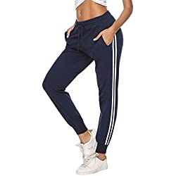Aibrou Pantalon de Sport Femmes,100% Coton Pantalons de Survêtement Long pour Jogging Running Fitness Pantalon de Training, Bleu A, L