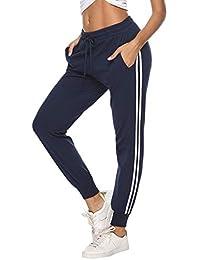 ed793ae55 Hawiton Pantalon Chandal Mujer Largos Pantalones de Deporte Yoga Fitness  Jogger Pantalones de Punto de Rayas