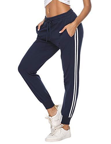 Aibrou Damen Sporthose Jogging Hose Lang Baumwolle Sportbekleidung Schlafanzughose Pyjamahose Nachtwäsche Blau XXL