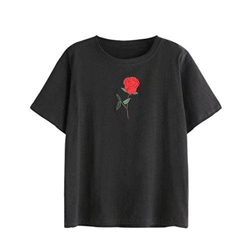 WOCACHI Damen Sommer T-Shirts Frauen Sommer Eine Rose Stickerei Bedruckte Bluse Kurzarm O-Ausschnitt Tops T-Shirt, Black, M (Mädchen T-shirt Arzt)