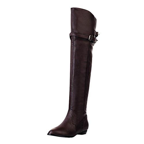 YE Damen Flache Thigh High Boots overknee Stiefel mit Schnallen und Reißverschluss Winter wasserdichte Schuhe Braun