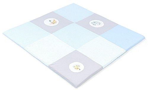 XXL Baby Krabbeldecke Spieldecke & Laufgittereinlage Patchworkdecke weich gepolstert und groß Mond Bär Lila (160 x 160 cm, Hellblau)