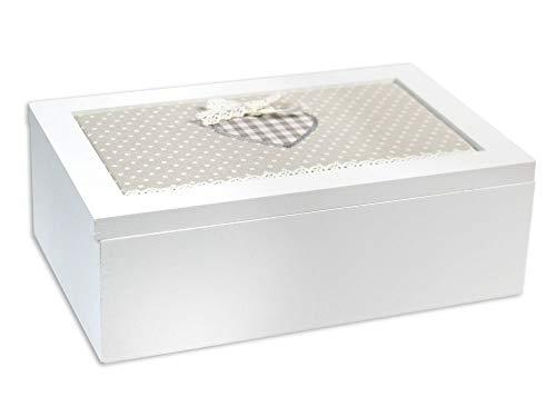 Vetrineinrete® scatola portagioie in legno bianco 6 scomparti con copertura in tessuto cofanetto gioielli organizer minuterie contenitore portaoggetti shabby chic idea regalo 45528 m71