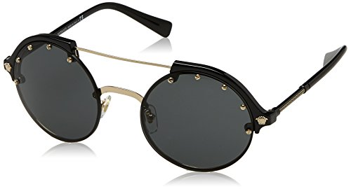 Versace Damen 0VE4337 GB1/87 53 Sonnenbrille, Schwarz (Pale Gold/Black/Gray),