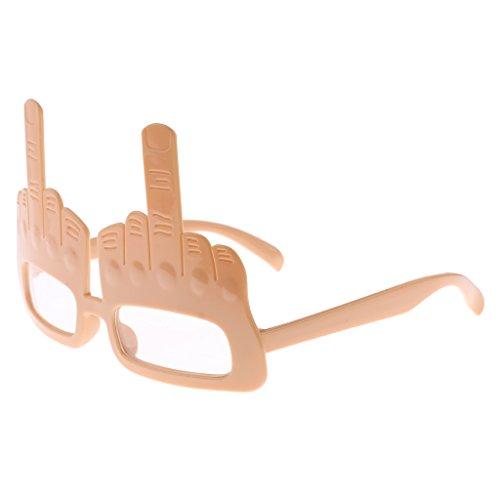 Blesiya Mittelfinger Brillen Lustige Brille Funbrille Gläser Party Scherzartikel - Nackt - Farbe