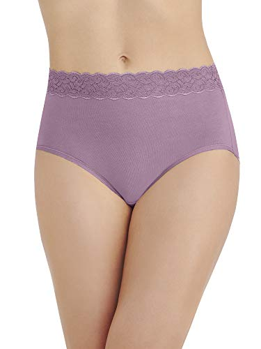 Vanity Fair Damen Flattering Lace Cotton Stretch Brief Panty 13396 Unterhose, Serene Mauve, Large - Slip Hanes Bikini