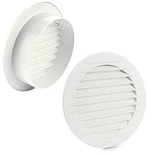 MKK - 17969-008 - Lüftungsgitter Abluftgitter Außengitter Insektenschutz weiß grau braun 60 70 80 90 100 120 125 150 mm weiß Ø 60 mm