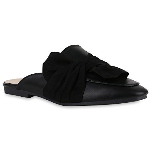 Offene Damen Slipper Pantoletten Schlappen Flats Schuhe Schleifen Schwarz