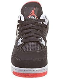 Air Jordan 4 Retro Bred Cuero Negro zapatilla de deporte 10 D (m) con nosotros