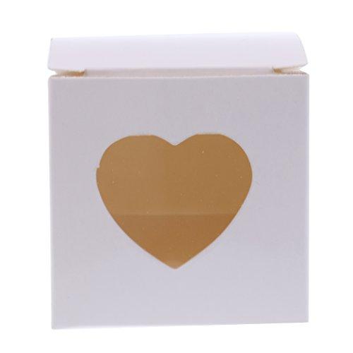 MagiDeal 50 Stück Geschenk Kasten Karton Süßigkeit Kasten Gast Kasten mit Herz Fenster für Hochzeits Taufe Geburtstags Party Dekor - Weiß, 5 x 5 x 5 cm