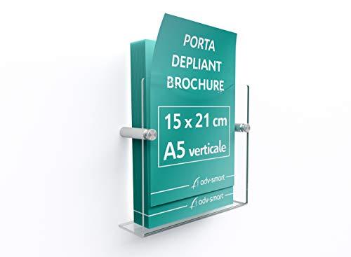 adv-smart Porta Depliant Brochure da parete A5 verticale 15x21 cm, Espositore in Plexiglass con fissaggi in acciaio