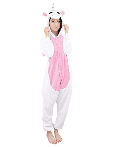 LATH.PIN Jumpsuit Tier Karton Fasching Halloween Kostüm Sleepsuit Cosplay Fleece-Overall Pyjama Schlafanzug Tierkostüme, Einhorn (Pink), S
