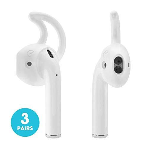 EarBuddyz – 2.0 Apple-AirPods und Ohrstöpsel-Abdeckung und Haken-Befestigung für iPhone-Kopfhörer, Ohrhöhrer– Clear (2Paar)