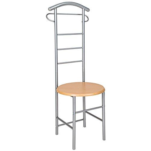 TecTake Herrendiener Kleiderständer Stummer Diener Kleiderbutler mit Sitzfläche für Komfortables An- und Ausziehen