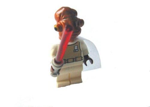LEGO STAR WARS - MINIFIGUR GENERAL ACKBAR mit rotem Laserschwert + WEISSEM Umhang (der Umhang befindet sich noch in der ungeöffneten LEGO Verpackung !!) (Star Lego 75002 Wars)