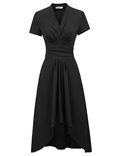 GRACE KARIN Robe de Soiree Cocktail Vintage Elegante Annee 50 Col V Profond Robe asymétrique Retro Grande Taille 2XL CL073-1