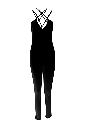 Noir Femmes Karina Strappy Cross Avant Jumpsuit Noir