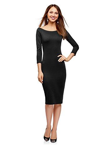 Oodji ultra donna abito aderente con scollo a barchetta, nero, it 42 / eu 38 / s