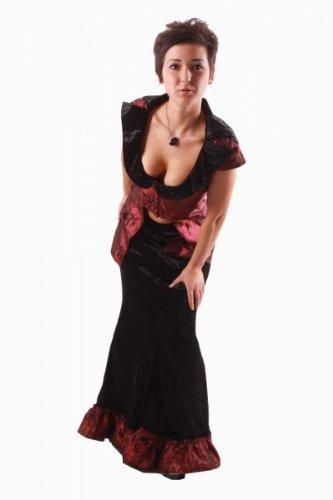 Gothic Braut Göttin Königin Vampir Rock in Samtoptik mit Weste Karneval Fasching Halloween 34 - 40, Kleidergr. Damen:XXXL = (Kostüm Göttin Gothic)