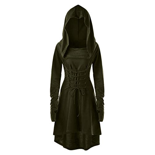 INLLADDY Damen Langarm mit Kapuze Mittelalter Kleid Cosplay Dress Mittelalter Kleidung Kostüm Lang Halloween Kostüm Armeegrün 3XL (Ideen Halloween-kostüm Gute 2019)