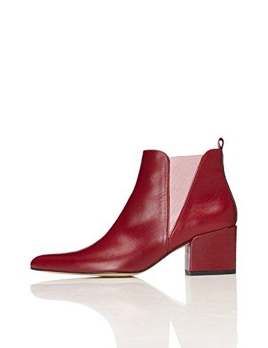 FIND Chelsea Boots Damen Aus Leder, mit keilförmigem Ausschnitt, Spitzer Vorderkappe und Blockabsatz, Rot (Deep Plum), 38 EU (Rote Leder-schuhe)