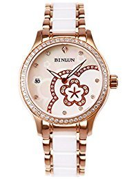 BINLUN Rose Gold Ladies Automatic Mechanical Watch with Mother of