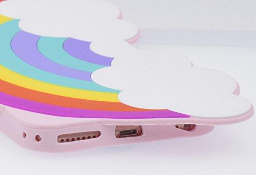 "iPhone 7 4.7"" Hülle, BENKER Hochwertig Schlagfeste und Kratzfeste Weich Silikon Kreativ 3D Cartoon Telefon Fall - Regenbogen Regenbogen"