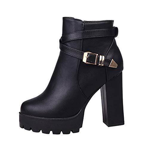 Lederstiefel Damen,Elecenty Frauen Stiefel Kurzschaft High Heels Blockabsatz Mit Nieten Stiefeletten Plateauschuhe Boots Reißverschluss Winterstiefel