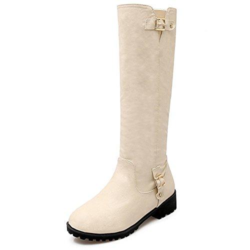 TAOFFEN Damen einfache elegante flache Schuhe Reißverschluss Mitte Wade Stiefel mit Schnallen-Falle Beige