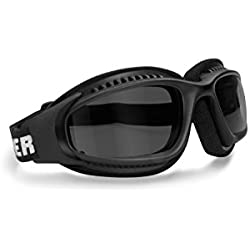 BERTONI Gafas Moto Antivaho Cordón Ajustable para Casco - Interior Acolchado AF113 Negro Opaco