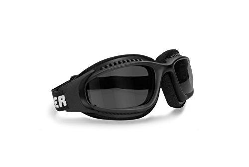 Bertoni AF113A - Occhiali da Moto con Elastico Regolabile per Casco - Lente Antifog