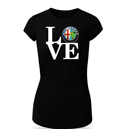 Alfa Romeo Love T-Shirt Clipart Women CAR Logo Auto Tee TOP Black White Short Sleeves (S, Black) -