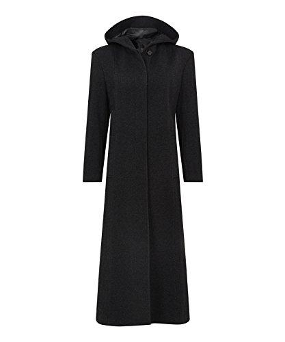Wolle Voller Länge Mantel (De La Creme - Frauen Winter-Wolle & Kaschmir mit Kapuze voller Länge Mantel, schwarz, Größe 38)