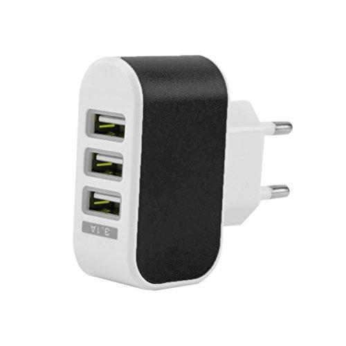 USB Ladegerät 3-Port, UEETEK Wand Ladegerät 3.1A Schnell Ladestecker mit LED-Licht für iPhone Tabletten Galaxy OnePlus (Schwarz)