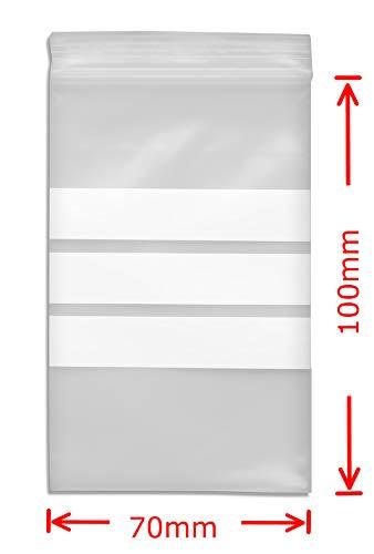 WeltiesSmartTools Premium Druckverschlussbeutel mit Stempelfeld 90µ 70x100mm 1000 Stück - 3 weiße Beschriftungsstreifen - 11 verschiedene Größen zur Auswahl (Industriellen Hanf Samen)