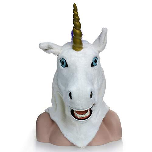 Kostüm Einhorn Hot - Viele Kostüm Kopf Maske Hot Moving Mouth Einhorn Maske Simulation Tiermaske Tier Karneval Einhorn Kopf Maske (Color : White)