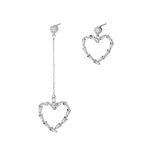 Classic quality Schön Schmuck Lange, unsymmetrische Panels bohren Pfirsich Herz ohr Nagel Ohr fallen in das Herz ausgesetzt - geformte Liebe Ohrringe weibliche -