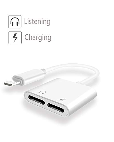 Luvfun Adapter for iPhone Cable, 2 in 1 iPhone Audio Adaptor (Support Audio+Charging+Call+Volume Control) Headphone Adapter for iPhone x/8/8 Plus/7/7 Plus Aux Cable Adapter-White