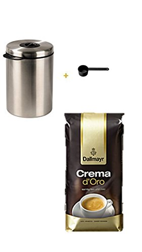 Xavax Kaffeedose für 1kg Kaffeebohnen, Tee, Kakao, mit Aromaverschluss, Edelstahldose, silber + Dallmayr Crema d'oro mild und fein in Bohne, 1er Pack (1 x 1000 g Beutel)