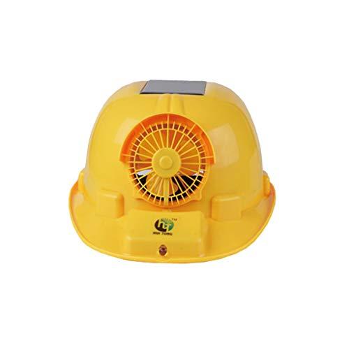 Casco di sicurezza con ventola di ventilazione, Cappa da cantiere Protezione solare Casco protettivo traspirante per uomini e donne (Color : YELLOW)