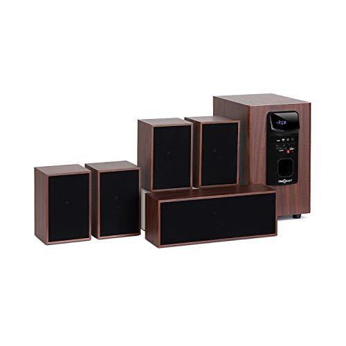 oneConcept Woodpecker 5.1-Sound-System - Heimkino-Soundsystem, Satelliten-Lautsprecher, Ausgangsleistung 45 W RMS, Bluetooth, USB-Port, SD-Slot, Holzoptik, inkl. Fernbedienung, schwarz-braun