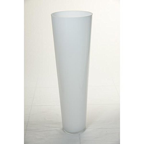 Set Of 2 X Large Conical Floor Vases Anna Of Glass, White, 2'4'' / 70 Cm, Ø 9'' / 22 Cm - Flower Vases / Glass Vase - Inna Glas