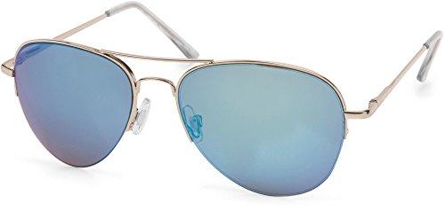 styleBREAKER Sonnenbrille verspiegelt, Pilotenbrille getönt mit Federscharnier, Unisex 09020037, Farbe:Gestell Halbrand Gold/Glas Blau