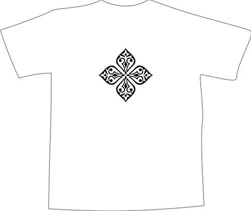 T-Shirt E1130 Schönes T-Shirt mit farbigem Brustaufdruck - Logo / Grafik / Design - abstraktes Ornament mit schönen Ranken und Blättern Schwarz
