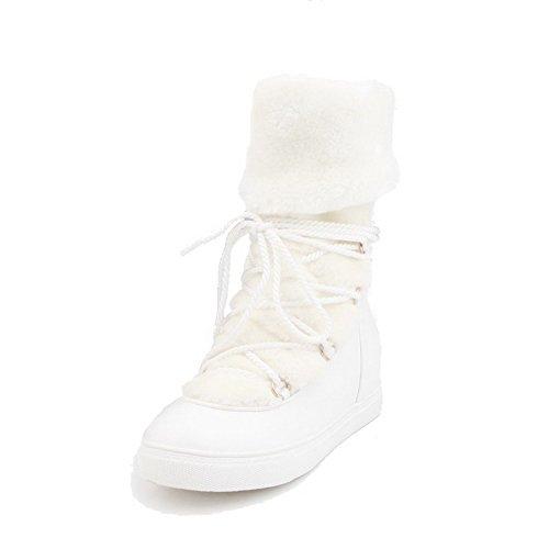 AllhqFashion Damen PU Leder Hoher Absatz Rund Zehe Schnüren Niedrig-Spitze Stiefel, Weiß-Knoten, 38