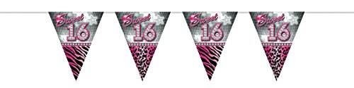 (Folat Sweet 16. Party Dekorationen 10 Meter Wimpelkette Flaggen)