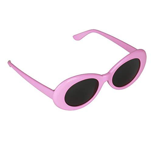 P PRETTYIA Retro Ovale Sonnenbrille Schutzbrillel Katzenaugen Brille Gläser für Herren Damen - Rosa