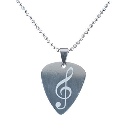 Artibetter Plektrum Halskette Metall Noten Muster Schmuck Perlen Kette Anhänger Geschenk DIY Charme Musiker Halskette (zufälliges Muster)