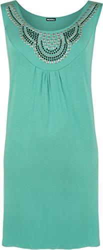 WearAll - Haut sans manches avec détail clouté sur la poitrine - Hauts - Femmes - Grandes tailles 40 à 54 Vert
